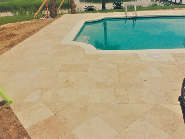 Residential Travertine Paver Pool Deck