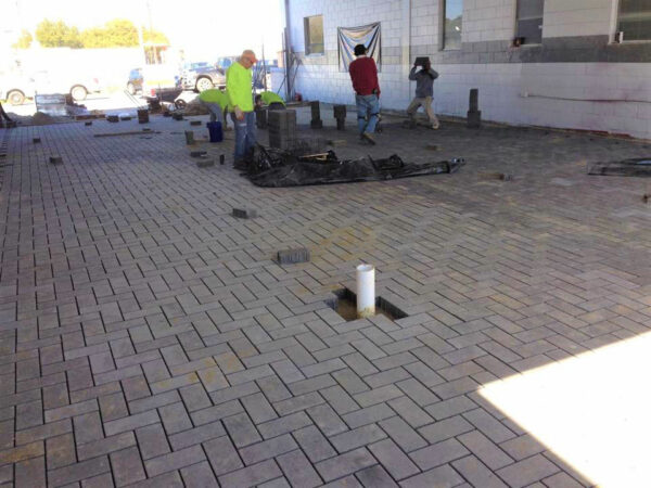 Commercial Heavy Duty Pavers at Car Dealership